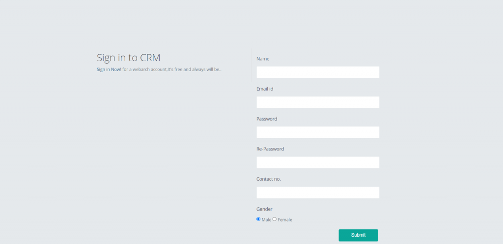 CRM-user-Registration