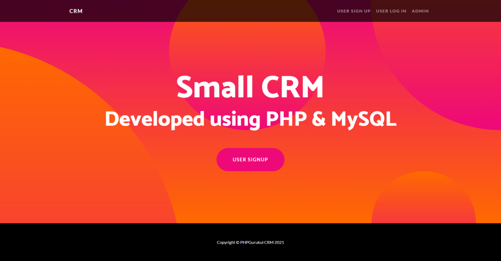 Small CRM Home Page