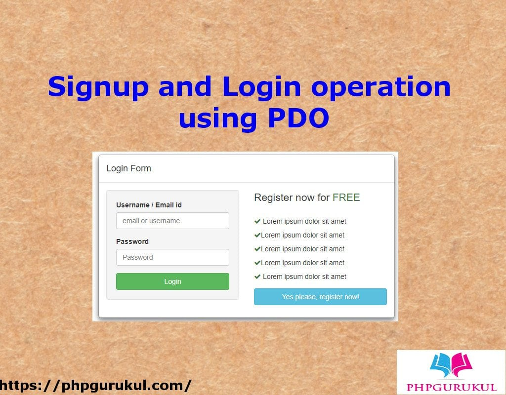 signup and login operation using pdo