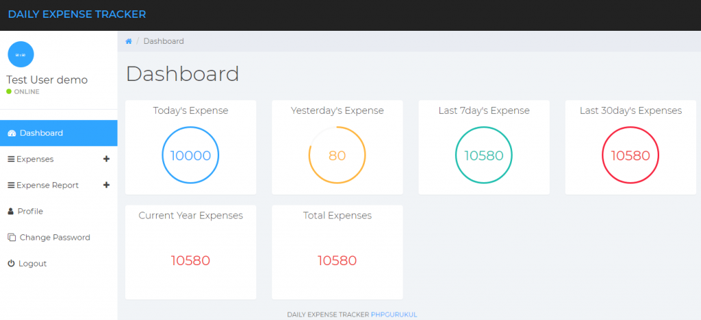 Daily Expense Tracker Dashboard