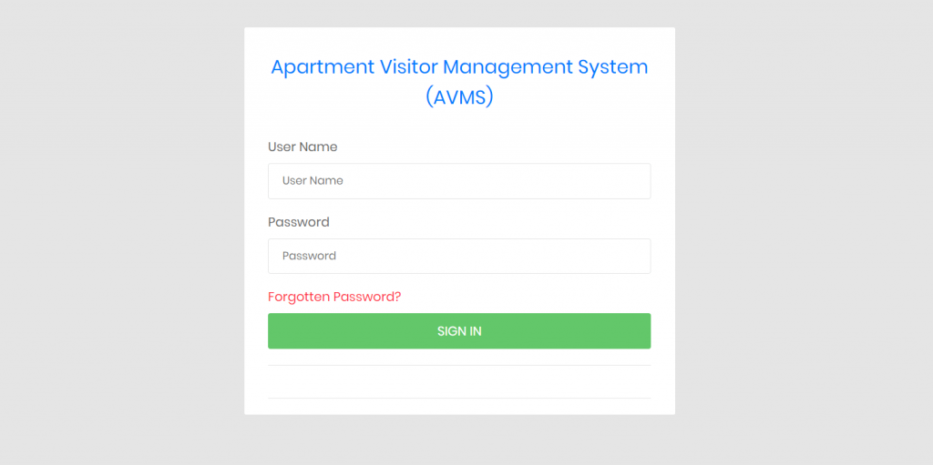 Apartment visitor management system admin login