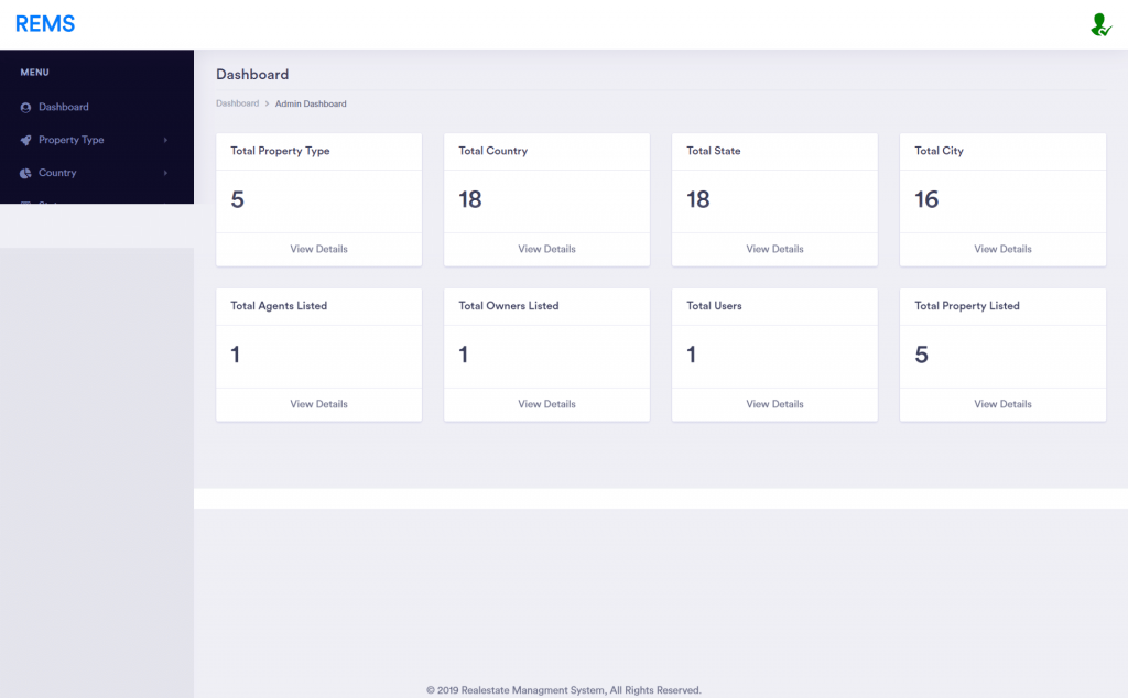 Real Estate Management System Project admin dashboard