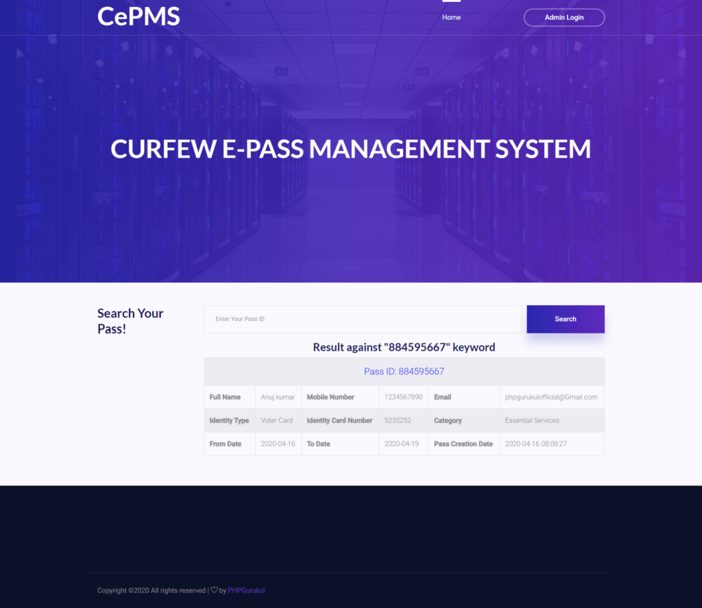 Curfew-e-Pass-Management-System-Home