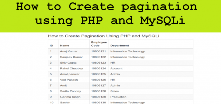 How to Create pagination using PHP and MySQLi