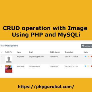CRUD operation with Image using PHP and MySQLi