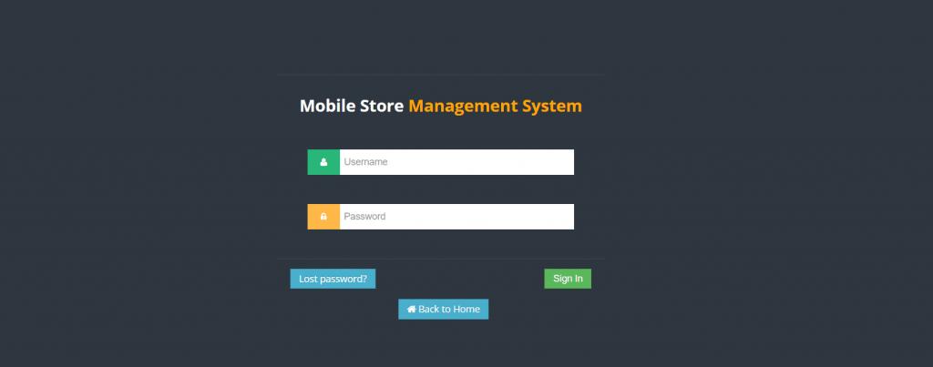 Mobile Store Admin Login